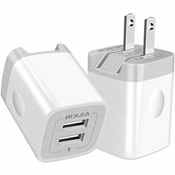 USB Wall Charger, Foldable Adapter, Ailkin 2Pack 2.4Amp Dual