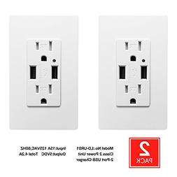 USB Wall Outlet - SECKATECH Dual USB Ports 4.2A DC Smart Hig