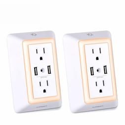 POWRUI USB Wall Charger Surge Protector with 2 USB Ports & L