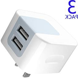 USB Wall Charger, USB Plug, 3-Pack 2.4A Dodoli Dual Port 12W