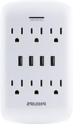 PHILIPS USB Wall Charger, Surge Protector, 6 Grounded Outlet