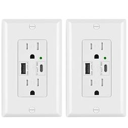 BESTTEN USB Wall Outlet Receptacle, Dual USB  Charging Port