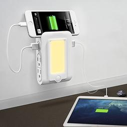 BESWILL USB Wall Outlet with Phone Holder Slot Dusk to Dawn