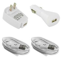 USB White Car Charger+Wall Travel Charger+2X Micro Cable for