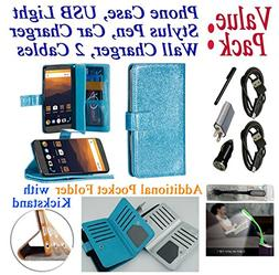 """Value Pack Cables + for 6"""" ZTE Blade Max 3 ZTE MAX BLUE Case"""
