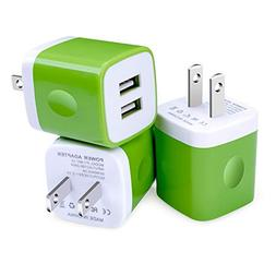 Wall Charger, Kakaly 3-Pack 2.1A/5V Dual Port USB Plug Power