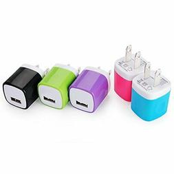 Wall Charger, Kakaly 5Pack Universal Home Travel USB 1 Amp W