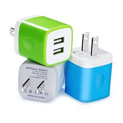 Wall Charger, Kakaly 3-Pack 2.1Amp USB Wall Adapter Dual Por