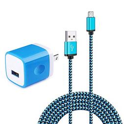 Wall Charger Adapter with 6ft Micro USB Cable, Charging Bloc