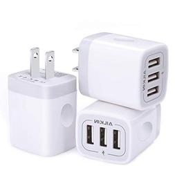 Wall Charger, USB Charger Adapter, Ailkin 3.1A/3Pack Muti Po