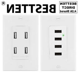 Wall Receptacle Outlet Socket with 4 High Speed USB Ports, C