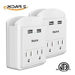XPLUS Wall Outlet Surge Protector with Two 2.4A USB Charging